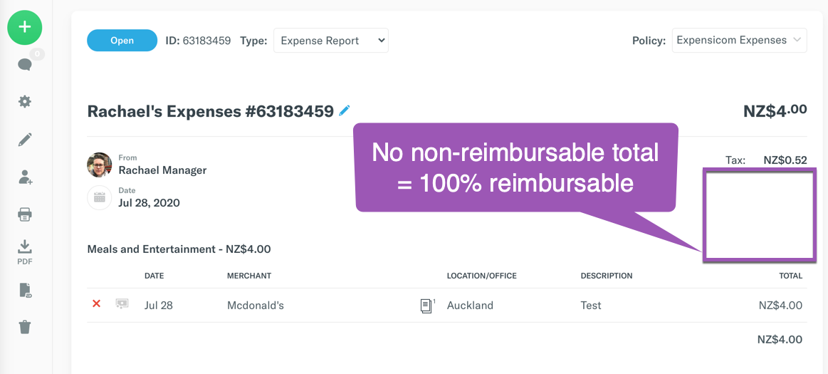 Image showing that when a report is 100% Reimbursable, there will only be one total on the top right.