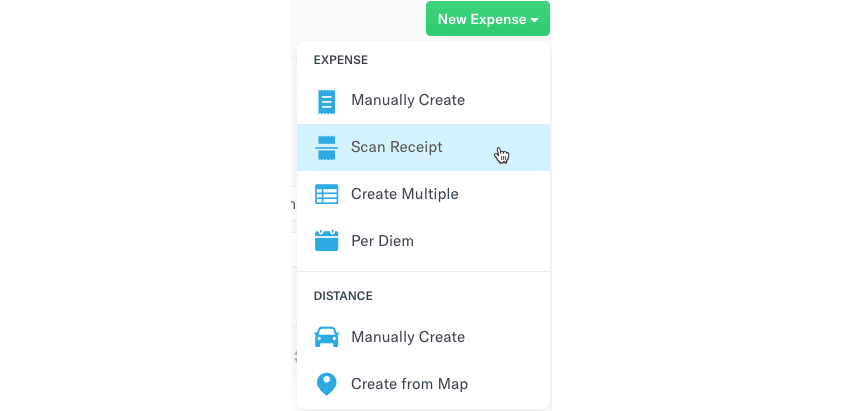 Image of Create Expense menu with Scan Receipt highlighted