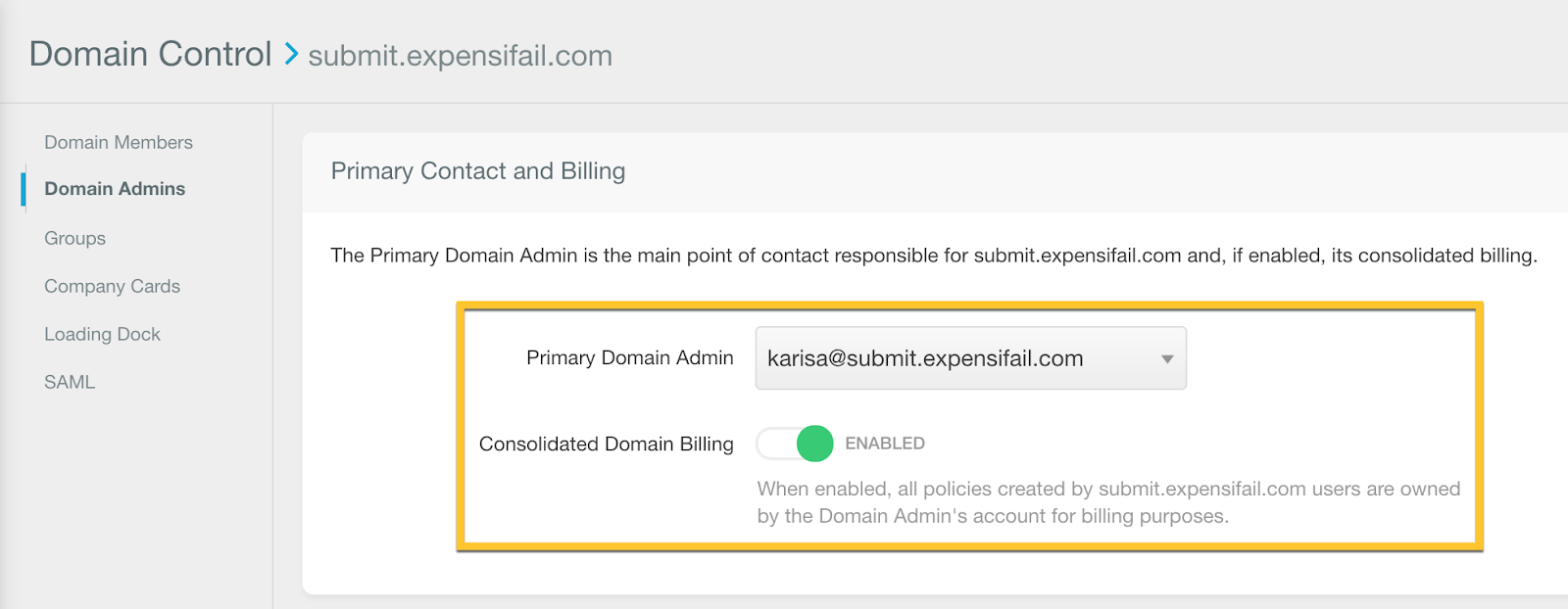 Image of the Domain Admins page with consolidated domain billing enabled