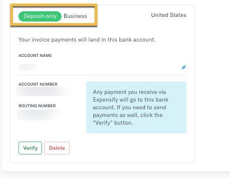 Bank account successfully added, highlighting Business Deposit account type