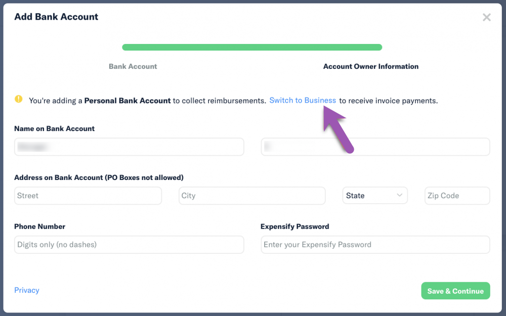 Add Bank Account dialog with 'switch to business' highlighted