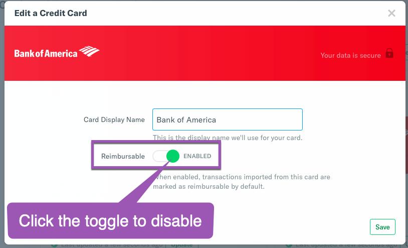 Image of personal card settings highlighting the Reimbursable toggle