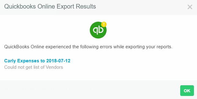 Quickbooks Online Export Error:
