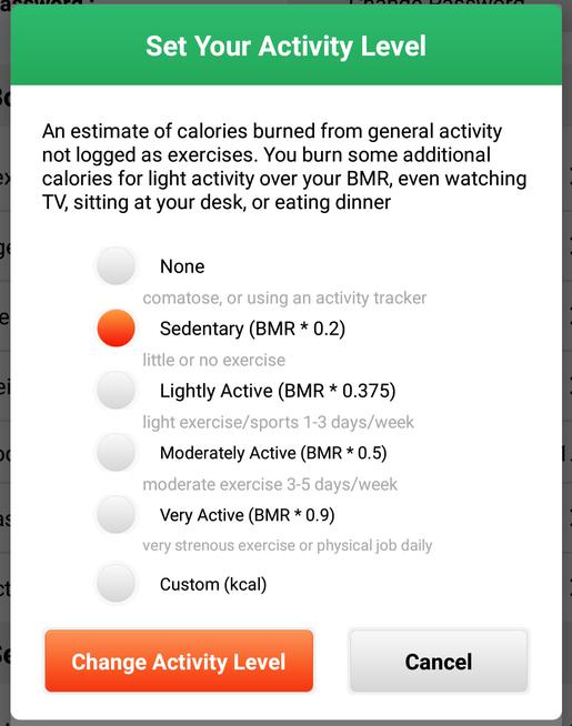 Activity Level Descriptions Vs Setting Cronometer Community