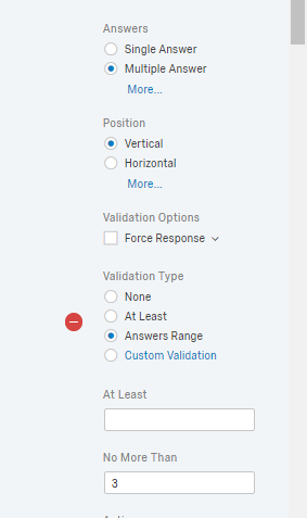 Select maximum amount of choices in multiple choice