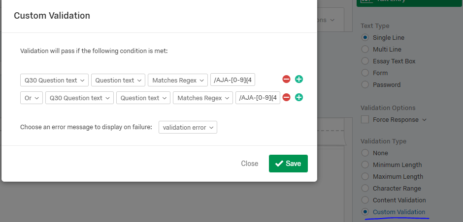 Regex validation questions with strings and numbers — Qualtrics