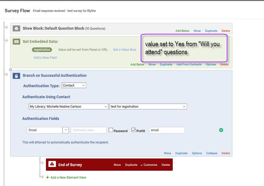 Authenticating against a contact list - registration survey