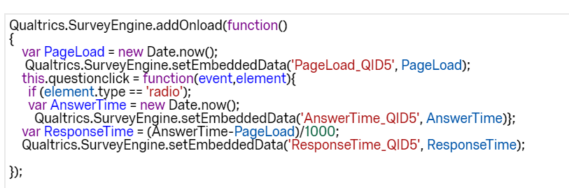 Recording timestamp for item responses on a single page