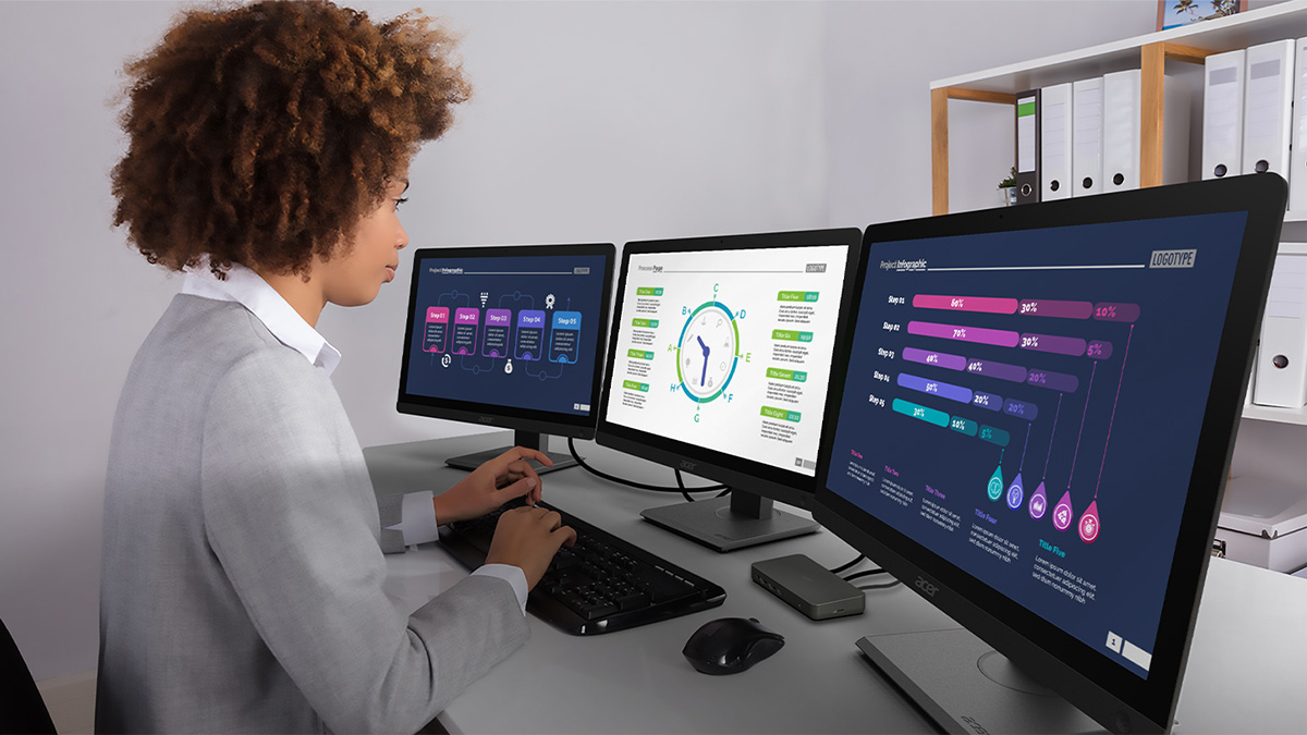 Woman working with three monitors and Acer USB Type-C Dock D501