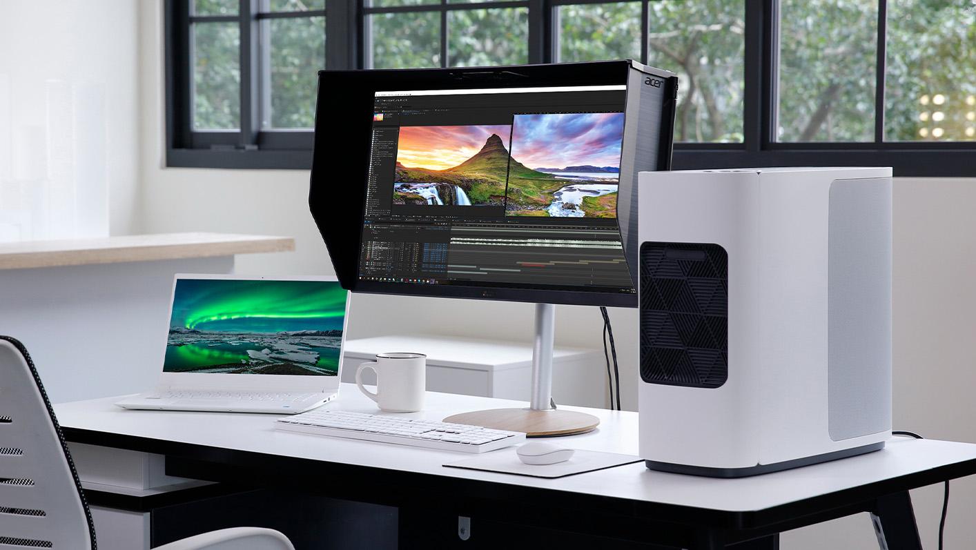 ConceptD CP3 monitor on a desk