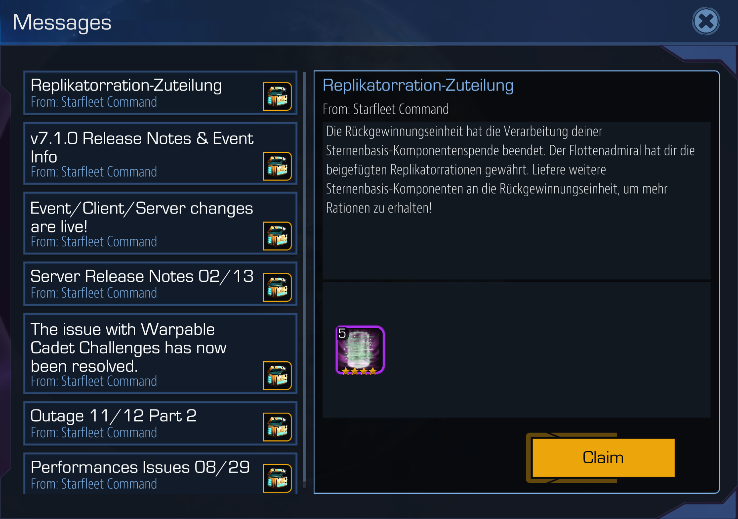 Replicator ration in game message — Disruptor Beam Forums
