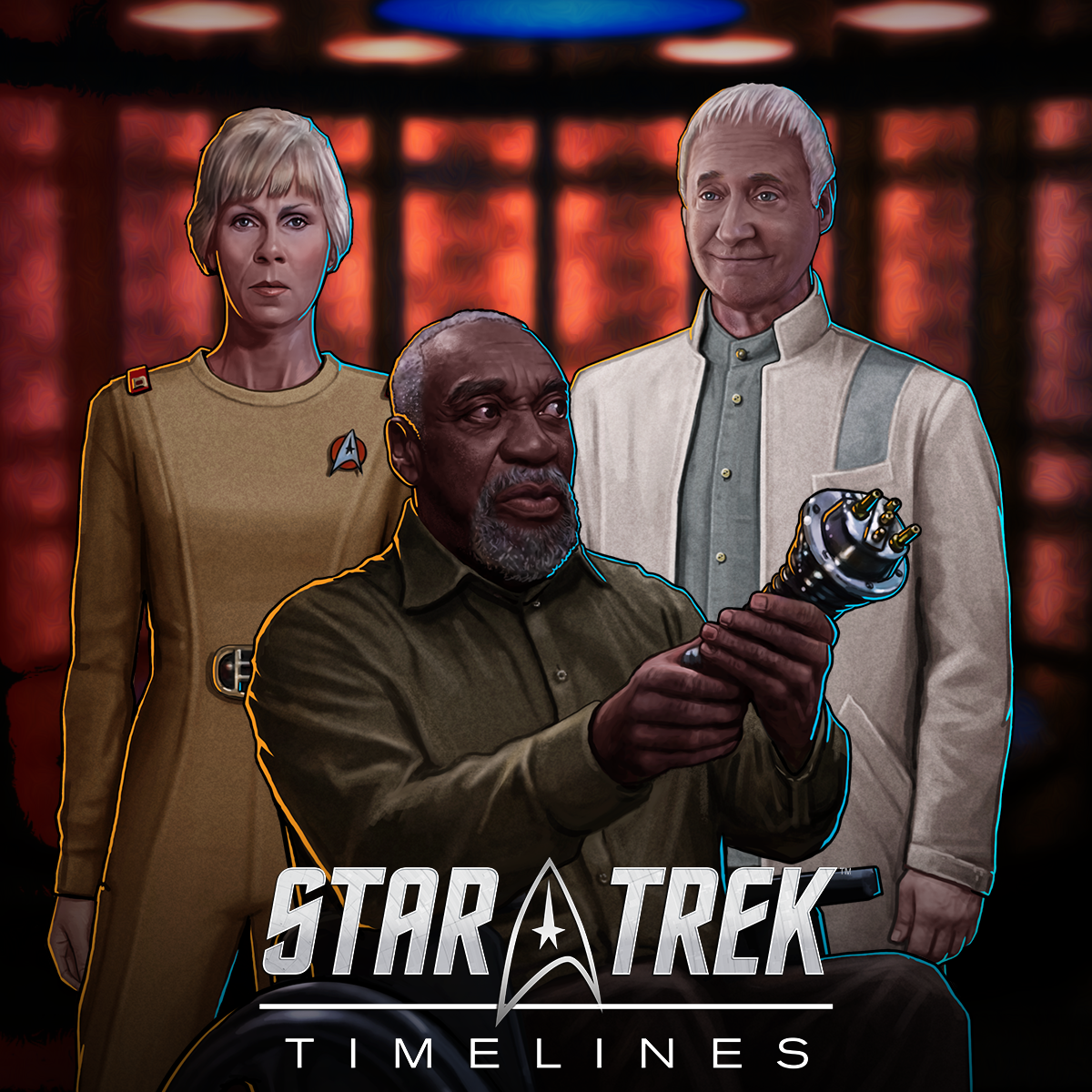 "Star Trek Timelines promo art for ""kLaw of Conservation"", featuring Emory Erickson, Altan Inigo Soong, and Transporter Chief Rand"