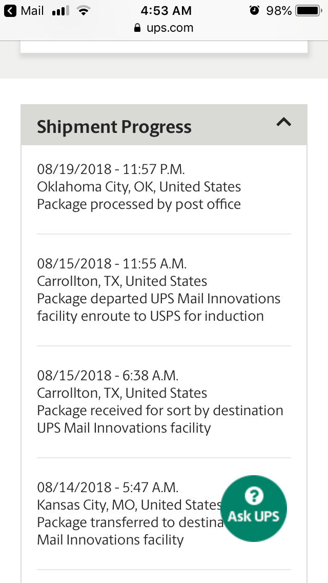 Package Transferred To Destination Ups Mail Innovations Facility