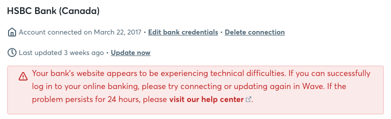 Has Wave dropped HSBC Canada from available connections