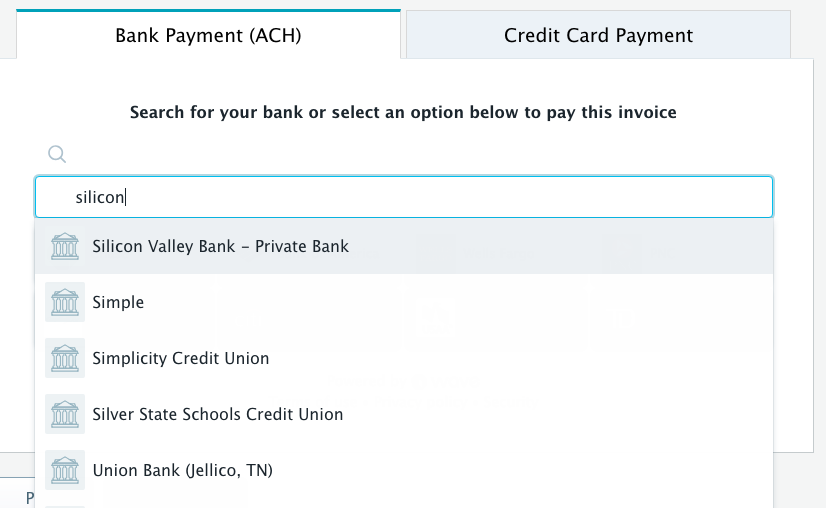 Trying to pay an invoice via ACH with Silicon Valley Bank