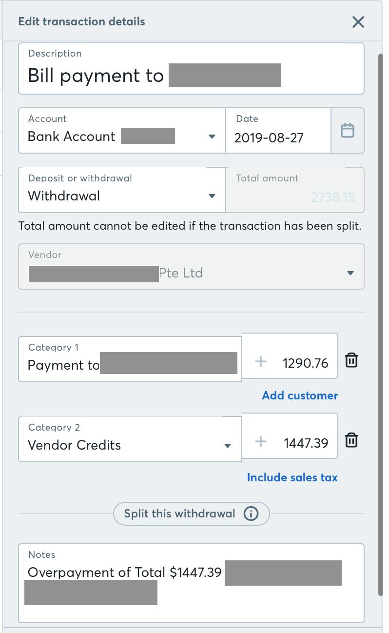 Over-payment to a bill / a k a Vendor credits — Wave Community