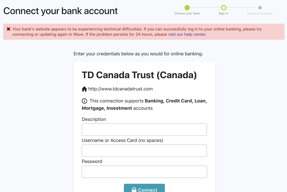 TD Canada Trust Account Not Connecting - Page 2 — Wave Community
