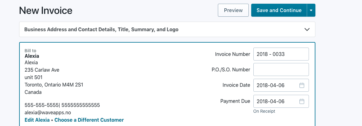 email text box is missing in invoice generator wave community