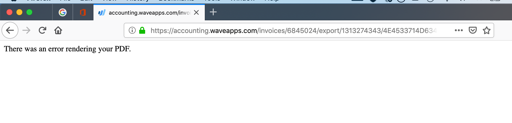 Unable to export in pdf — Wave Community