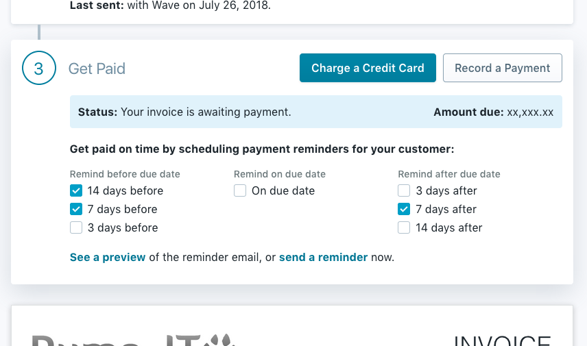 recurring invoice how to schedule payment reminders wave community