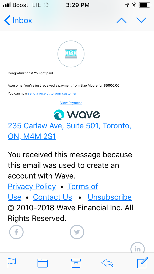 Received a fraudulent notice of payment — Wave Community