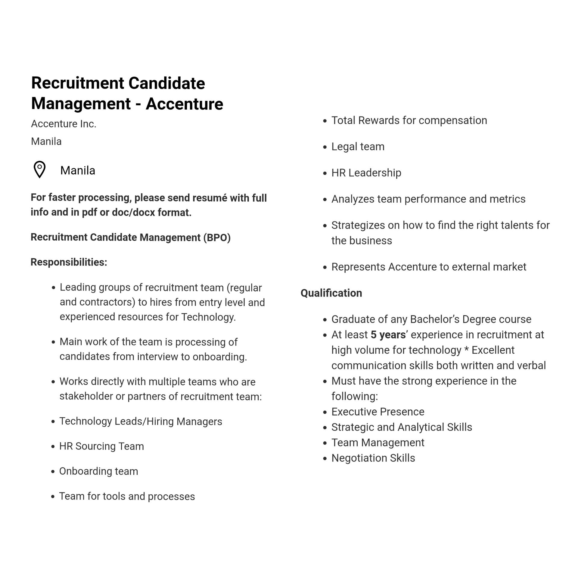 Openings In Accenture Income Opportunities Pinoyexchange Com