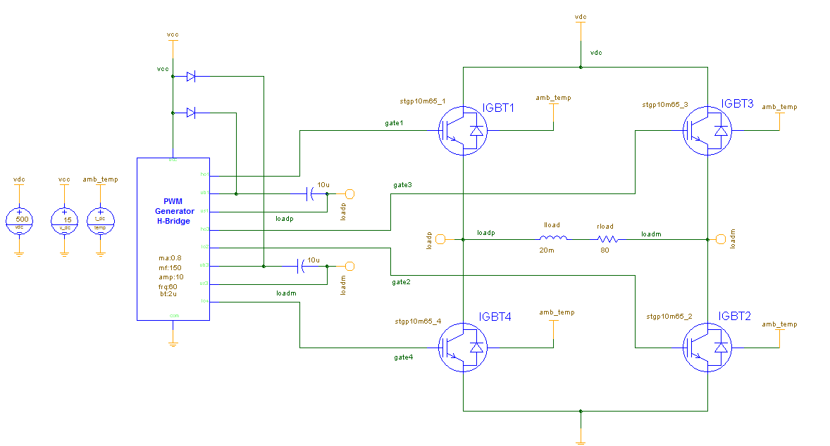 Single phase Voltage Source Inverter using IGBT with dynamic thermal