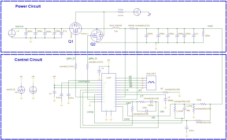 Saberrd Design Example Synchronous Buck Converter Using Ucc3882 Circuit Snapshot