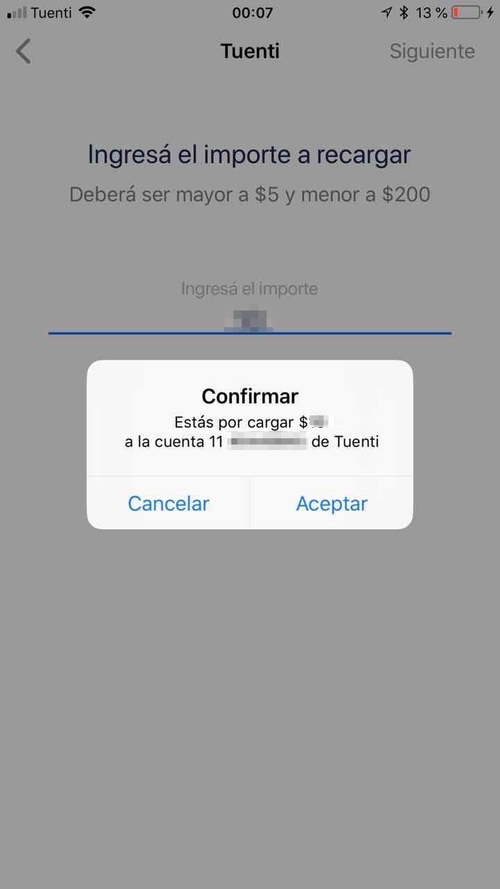 Verificar el importe y número de móvil a recargar