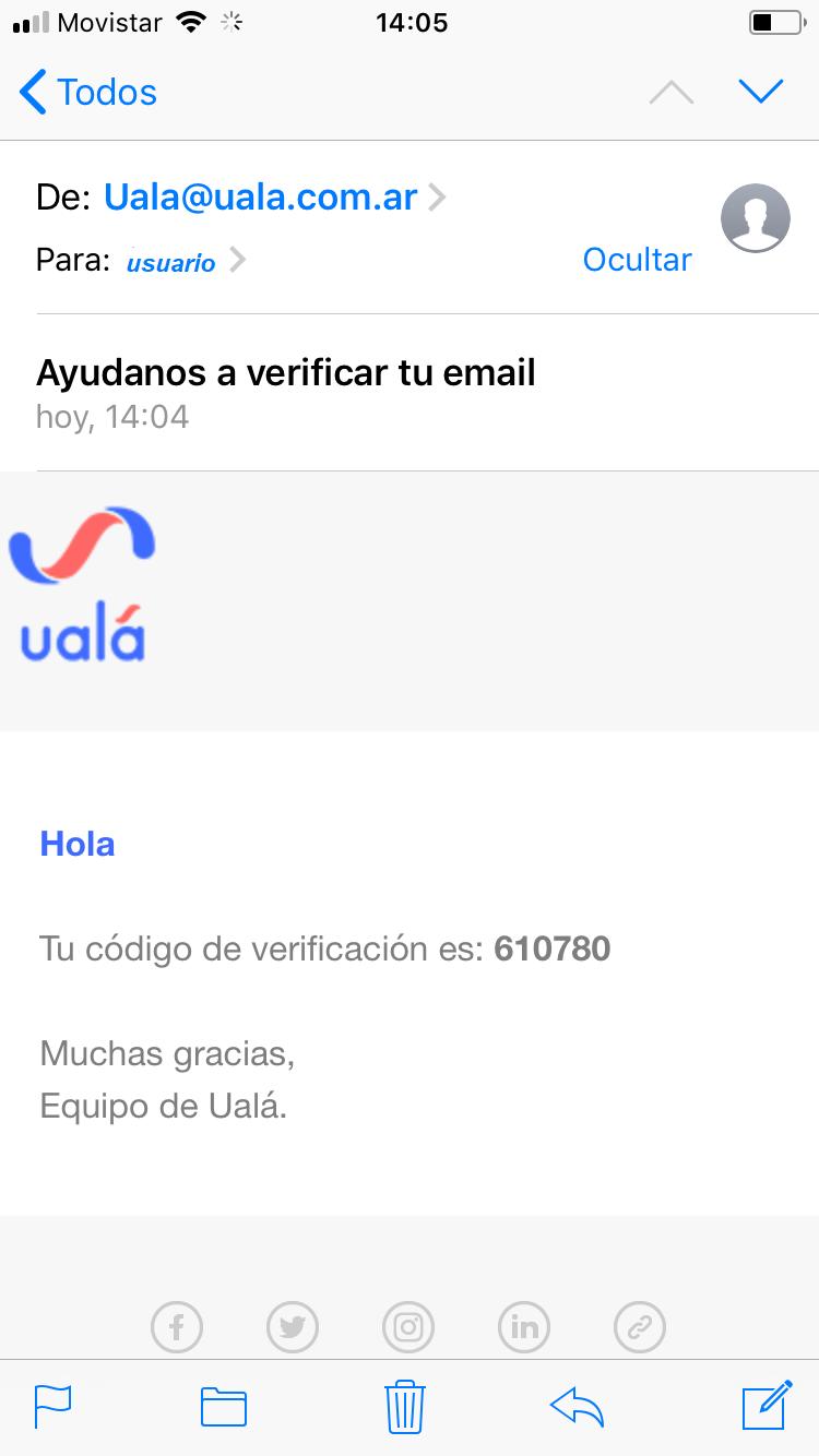 Mail recibido de la aplicacin Ual