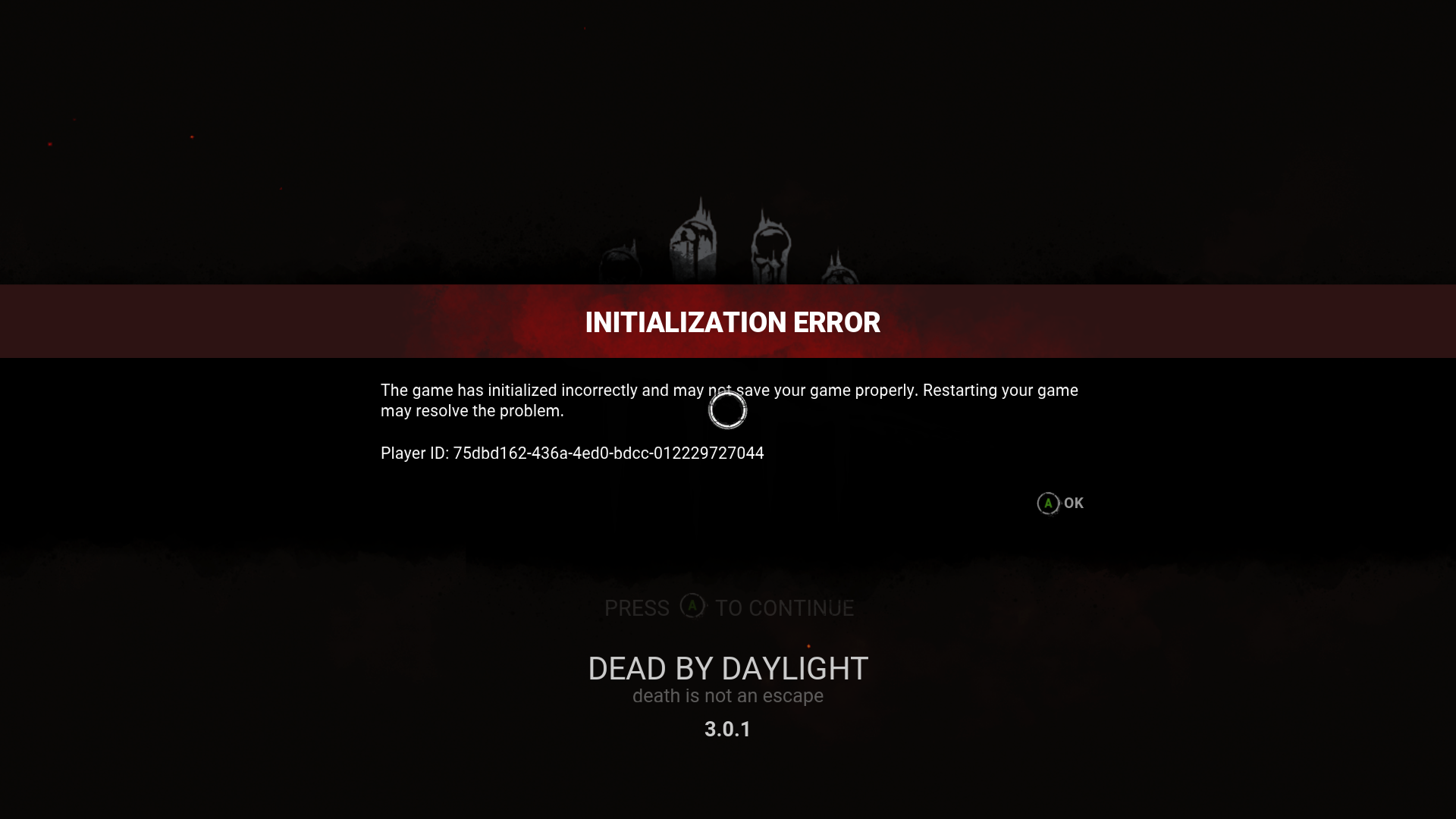 Initialisation Error on Xbox One — Dead By Daylight