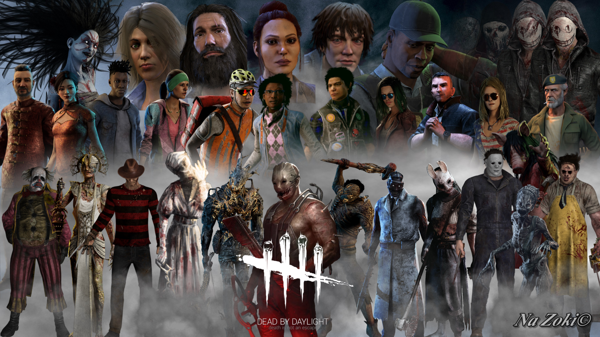 Wallpaper With All The Survivors And Killers Together Dead By