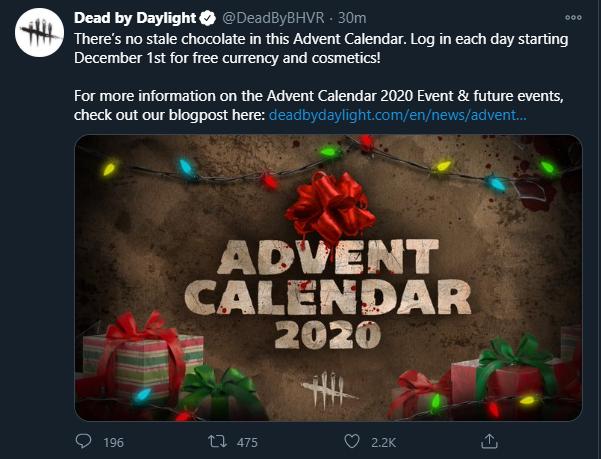 DBD christmas advent calendar — Dead By Daylight