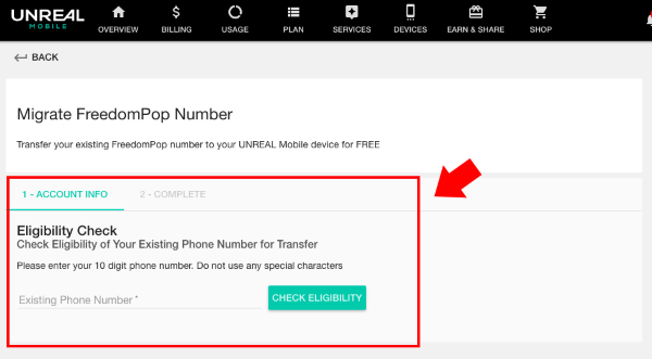 Port your FreedomPop phone number to UNREAL Mobile