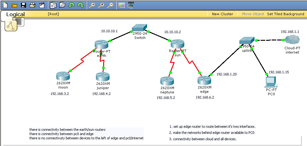 Two labs connected together, then connected to internet