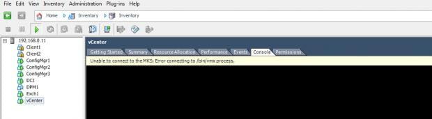 vmware unable to connect to the mks