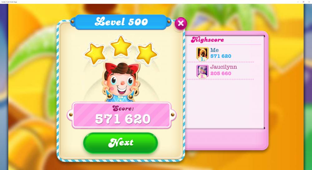 Level 500 - Score 571,620 - Beat Game Expert @Yosca Contest - Candy Crush Soda Saga - Origins7 Dale.png