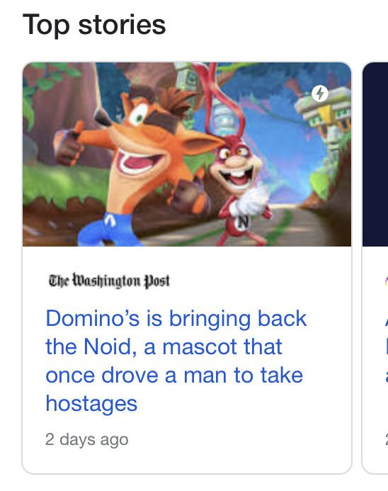 Noid from Crash on the run appeared in the news.jpg