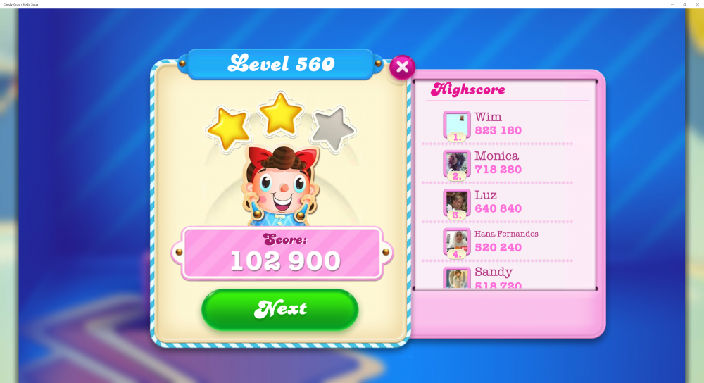 Level 560 - Lowest Score 102,900 @LadyRaffie - Soda Legends - CCSS - Origins7 Dale.png