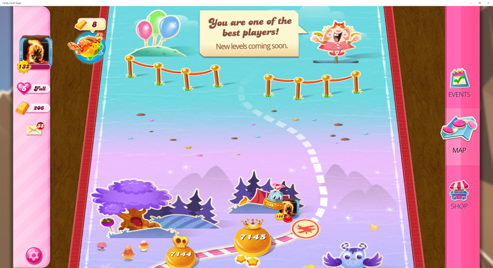 My Current Map Level 7146 (Finished Level 7145) Candy Crush Saga - End Of Game For The 3rd Time - Origins7 Dale.png