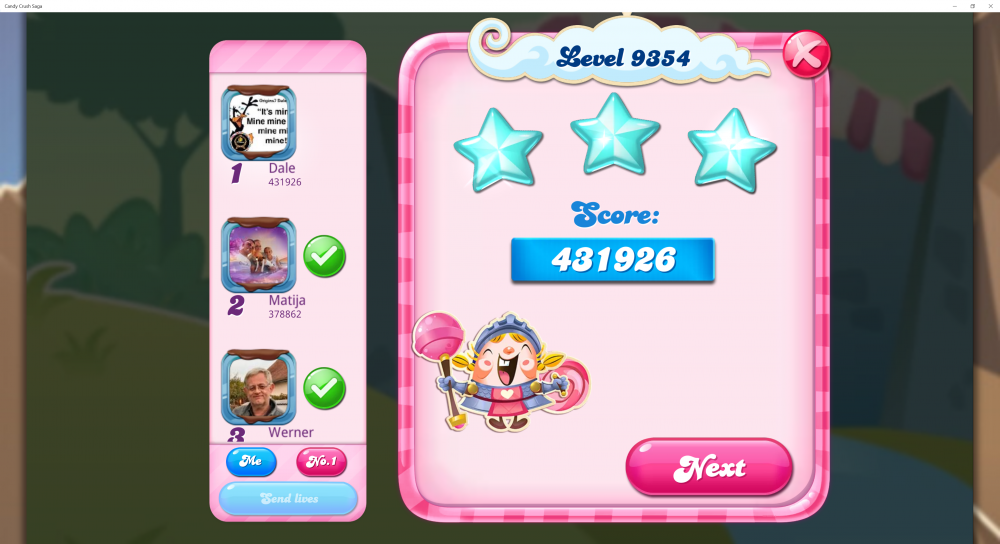 Yeti's Candy Tournament - Week 9 - Level With 9 & Score With 9 In It! - Level 9354 Score 431,926 Sugar Stars - CCS - Origins7 Dale.png