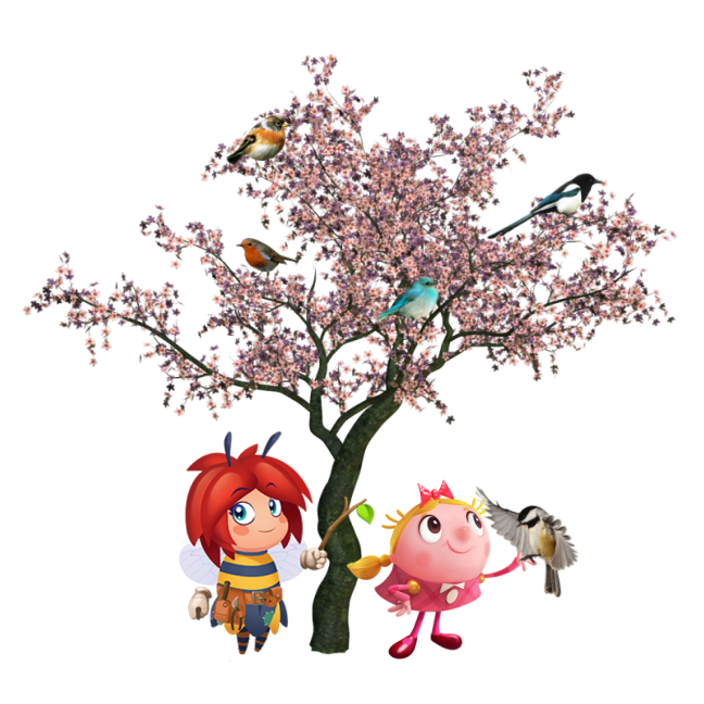 Blossom and Tiffi under cherry tree.png