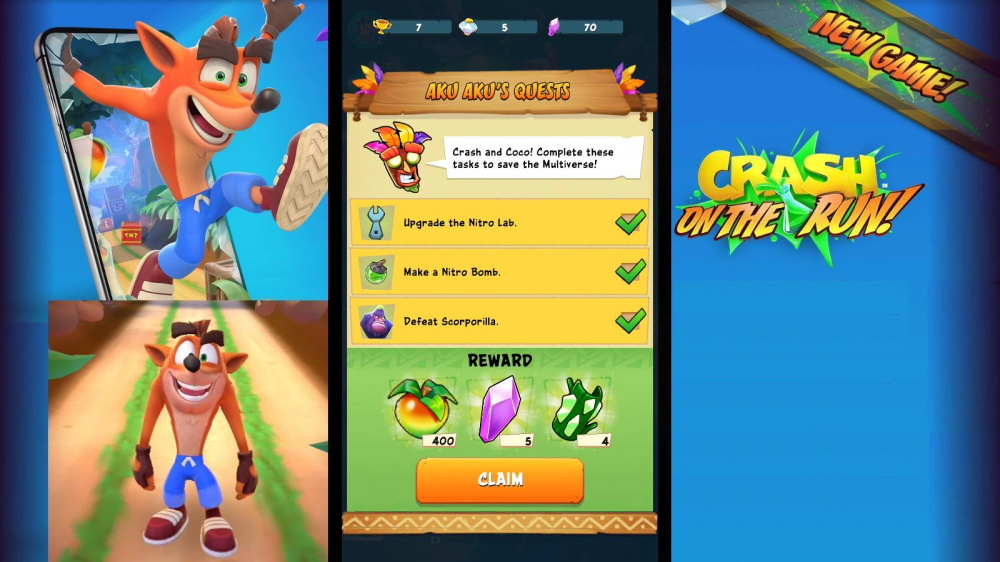 Crash Bandicoot On The Run Initial Game Aku-Aku Quest.jpg