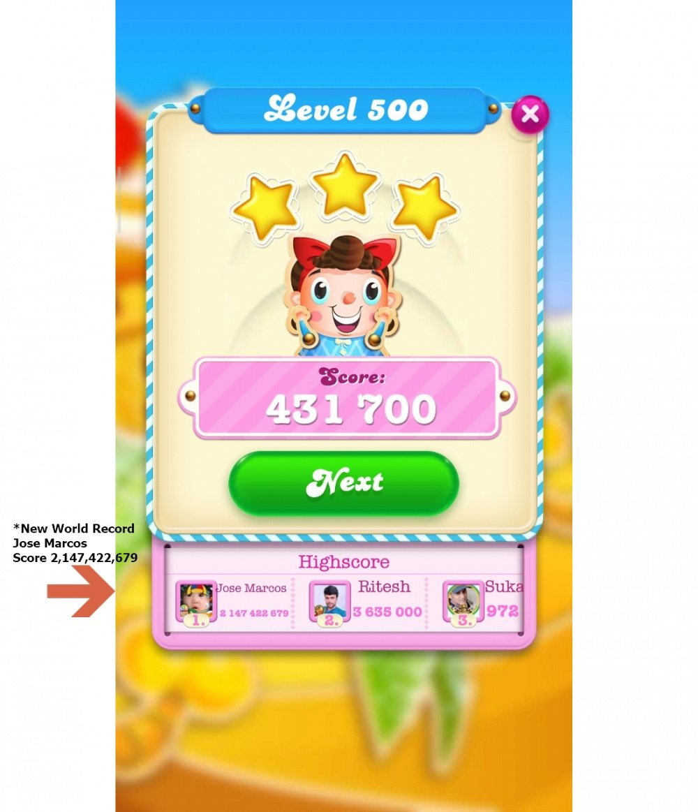 New World Record - Jose Marcos Score 2,147,422,679 On Candy Crush Saga - By Origins7_Dale (The King Community).jpg