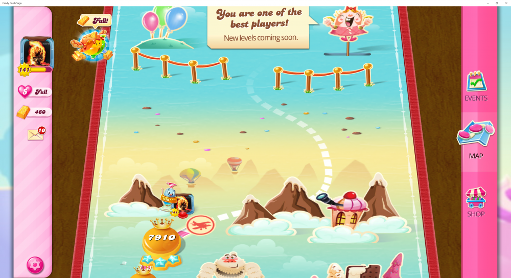 My Current Map Level 7911 (Finished Level 7910) 20th x At End Of The Game - Candy Crush Saga - Origins7 Dale.png