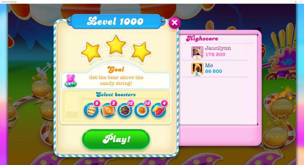 My Score At Level 1000 - 86600 - On Candy Crush Soda Saga - Origins7 Dale.png