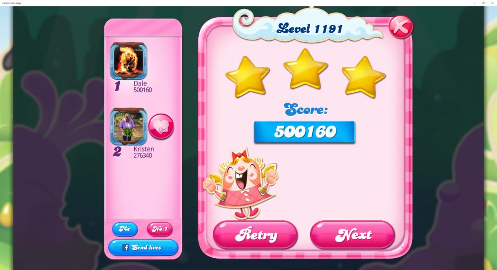 Level 1191 - Score 500160 - Superstar @kiara_wael Monthly Challenge - Candy Crush Saga - Origins7 Dale.png