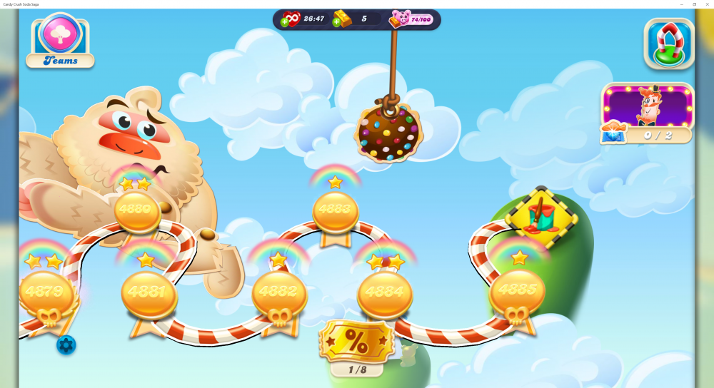 Candy Crush Soda Saga - Teams Icon At Top Left - Origins7 Dale.png