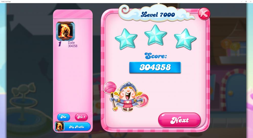 Level 7000 Score 304358 Sugar Stars Candy Crush Saga - Origins7 Dale.png