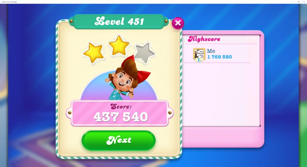 2 Screenshots & 2 Levels Post on @Yosca Score 627,320 Contest! - Level 451 My Score 437,540 - CCSS - Origins7 Dale.png